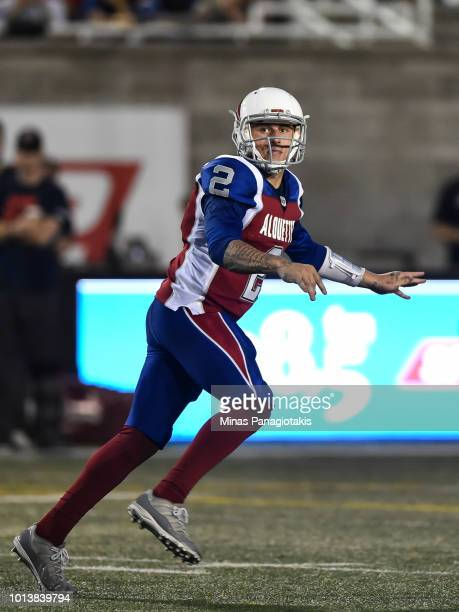 Quarterback Johnny Manziel of the Montreal Alouettes looks on after throwing the ball against the Hamilton TigerCats during the CFL game at Percival...