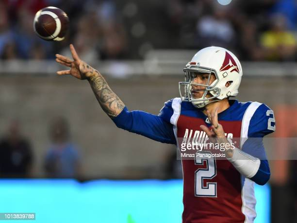 Quarterback Johnny Manziel of the Montreal Alouettes throws the ball against the Hamilton TigerCats during the CFL game at Percival Molson Stadium on...