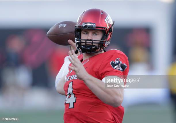 UNLV quarterback Johnny Stanton looks to pass the ball during a game against Hawaii on November 04 at Sam Boyd Stadium in Las Vegas Nevada The UNLV...