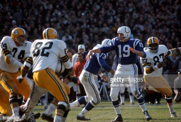 Quarterback Johnny Unitas of the Baltimore Colts in action against the Green Bay Packers during an NFL football game circa 1967 at Memorial Stadium...