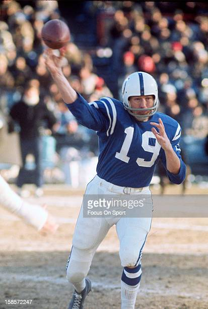 Quarterback Johnny Unitas of the Baltimore Colts throws a pass during an NFL football game circa 1970 at Memorial Stadium in Baltimore Maryland...