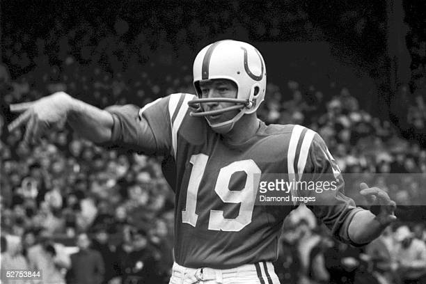 Quarterback Johnny Unitas of the Baltimore Colts warms up prior to the NFL Championship Game on December 27 1964 against the Cleveland Browns at...