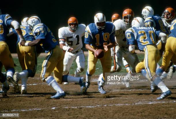 Quarterback Johnny Unitas of the San Diego Charger in action against the Cincinnati Bengals during an NFL football game September 30 1973 at Jack...