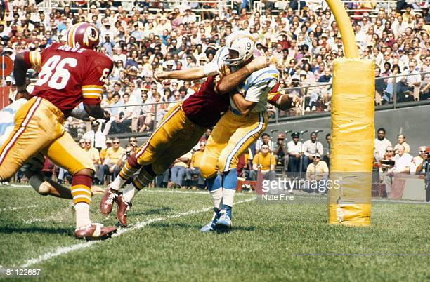 Quarterback Johnny Unitas of the San Diego Chargers in action during a 380 loss against the Washington Redksins on September 16 1973 at RFK Stadium...