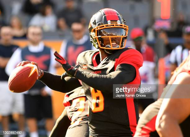 Quarterback Johnson Josh of the LA Wildcats gets set to throw a complete pass in the first quarter of the XFL game against the DC Defenders at...