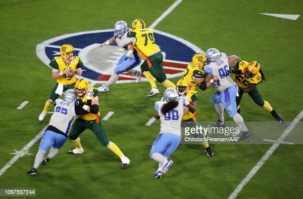 Quarterback John Wolford of the Arizona Hotshots drops back to pass during the first half of the Alliance of American Football game against the Salt...