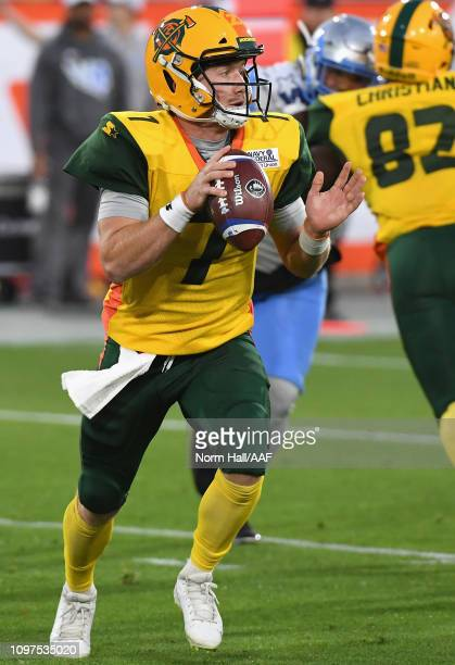 Quarterback John Wolford of the Arizona Hotshots looks to pass the ball during the Alliance of American Football game against the Salt Lake Stallions...
