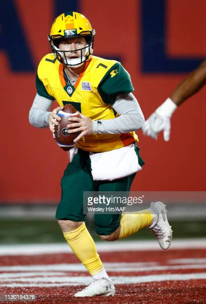 Quarterback John Wolford of the Arizona Hotshots looks to pass the ball during the first quarter of the Alliance of American Football game against...