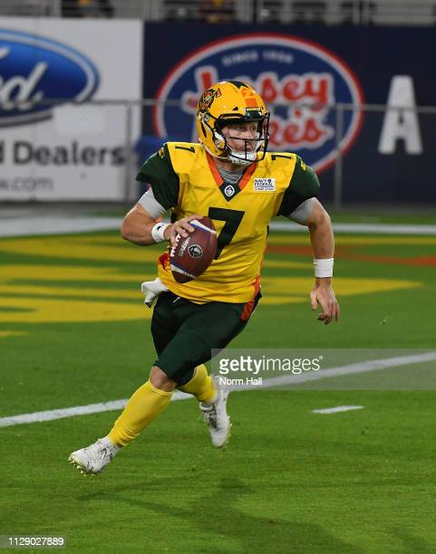Quarterback JohnÊWolford of the Arizona Hotshots looks to throw the ball during the Alliance of American Football game against the Salt Lake...