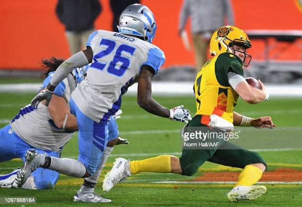 Quarterback John Wolford of the Arizona Hotshots runs with the ball during the second half of the Alliance of American Football game against the Salt...