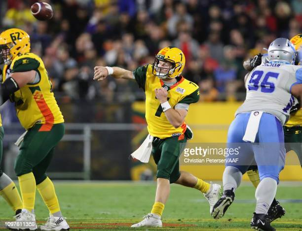 Quarterback John Wolford of the Arizona Hotshots throws a pass during the Alliance of American Football game against the Salt Lake Stallions at Sun...