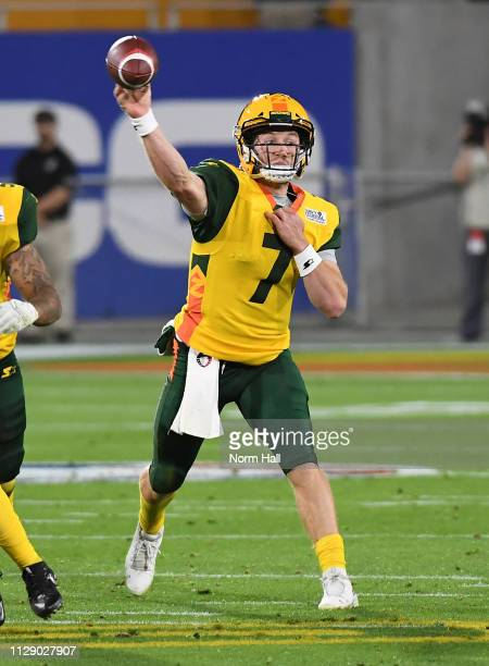 Quarterback JohnÊWolford of the Arizona Hotshots throws the ball during the Alliance of American Football game against the Salt Lake Stallions at Sun...