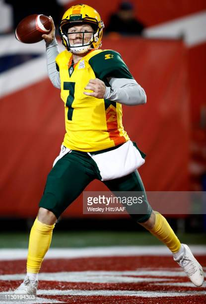 Quarterback John Wolford of the Arizona Hotshots throws the ball during the first quarter of the Alliance of American Football game against the...