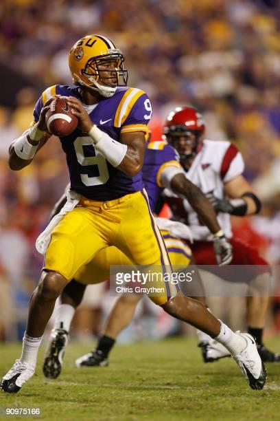 Quarterback Jordan Jefferson of the Louisiana State University Tigers looks to throw a pass against the University of Louisiana-Lafatette Ragin'...