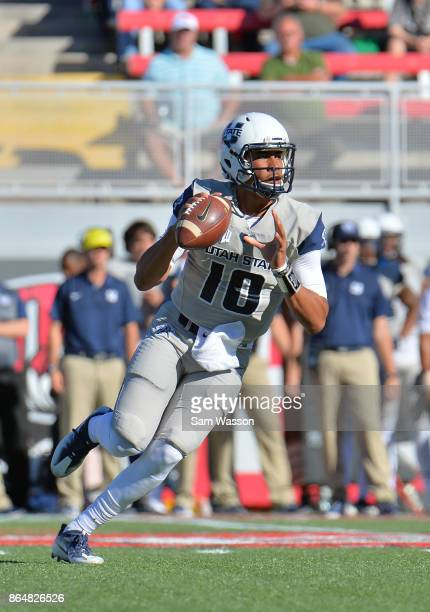 Quarterback Jordan Love of the Utah State Aggies looks to pass during their game against the UNLV Rebels at Sam Boyd Stadium on October 21 2017 in...