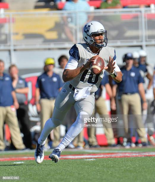 Quarterback Jordan Love of the Utah State Aggies looks to pass during the team's game against the UNLV Rebels at Sam Boyd Stadium on October 21 2017...