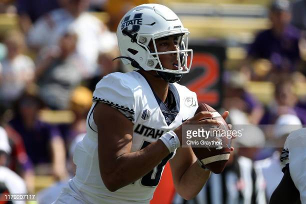 Quarterback Jordan Love of the Utah State Aggies looks to throw a pass against the LSU Tigers at Tiger Stadium on October 05 2019 in Baton Rouge...