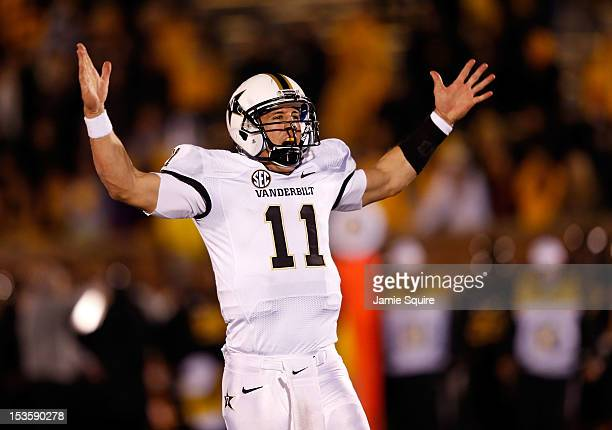 Quarterback Jordan Rodgers of the Vanderbilt Commodores celebrates as the Commodores defeat the Missouri Tigers with a final score of 19-15 to win...