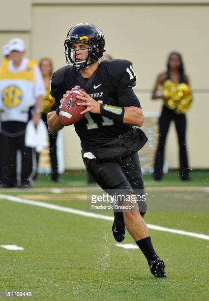 Quarterback Jordan Rodgers of the Vanderbilt Commodores plays against the South Carolina Gamecocks at Vanderbilt Stadium on August 30 2012 in...