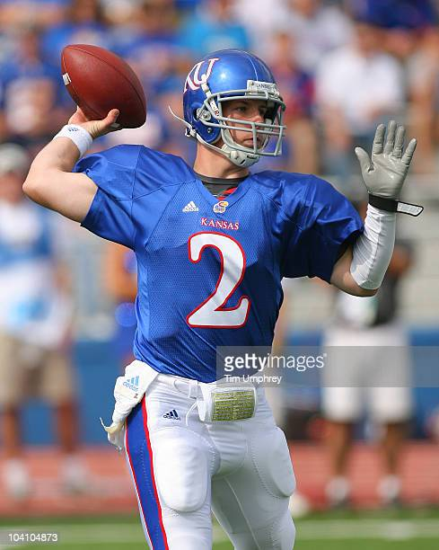Quarterback Jordan Webb of the Kansas Jayhawks throws a pass in a game against the Georgia Tech Yellow Jackets on September 11 2010 at Memorial...