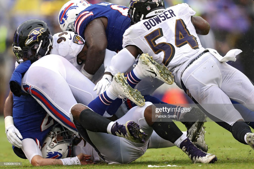 Quarterback Josh Allen #17 of the Buffalo Bills is sacked by Za'Darius Smith #90 of the Baltimore Ravens in the third quarter at M&T Bank Stadium on September 9, 2018 in Baltimore, Maryland.