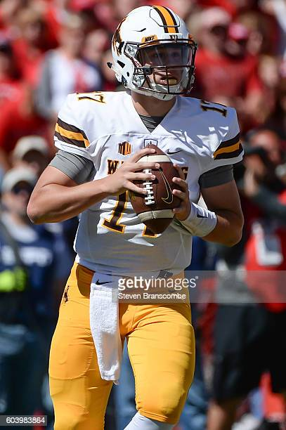 Quarterback Josh Allen of the Wyoming Cowboys looks to pass against the Nebraska Cornhuskers at Memorial Stadium on September 10 2016 in Lincoln...