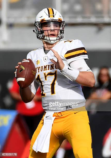 Quarterback Josh Allen of the Wyoming Cowboys looks to pass against the UNLV Rebels during their game at Sam Boyd Stadium on November 12 2016 in Las...