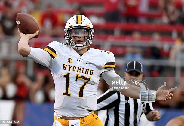 Quarterback Josh Allen of the Wyoming Cowboys throws against the UNLV Rebels during their game at Sam Boyd Stadium on November 12 2016 in Las Vegas...