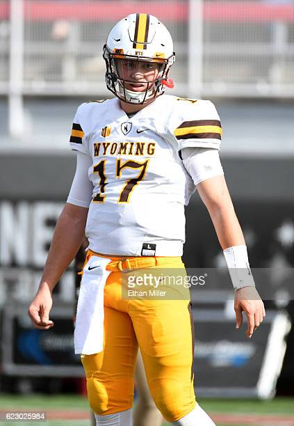 Quarterback Josh Allen of the Wyoming Cowboys warms up on the field before the team's game against the UNLV Rebels at Sam Boyd Stadium on November 12...