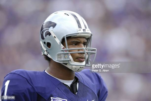 Quarterback Josh Freeman of the Kansas State Wildcats looks to the bench in the first half against the Kansas Jayhawks, during a NCAA football game...