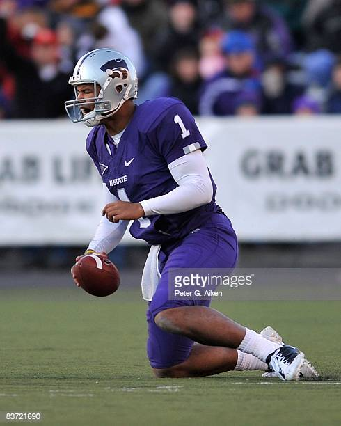 Quarterback Josh Freeman of the Kansas State Wildcats reacts after getting sacked against the Nebraska Cornhuskers during the third quarter on...