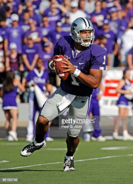 Quarterback Josh Freeman of the Kansas State Wildcats rolls to the outside as he looks down field in the first half during a game against the Texas...