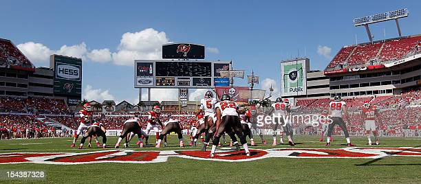 Quarterback Josh Freeman of the Tampa Bay Buccaneers runs the offense against the Kansas City Chiefs during the game at Raymond James Stadium on...