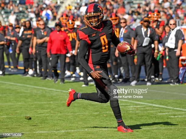 Quarterback Josh Johnson of the Los Angeles Wildcats runs the ball in the game against the Dallas Renegades at Dignity Health Sports Park on February...
