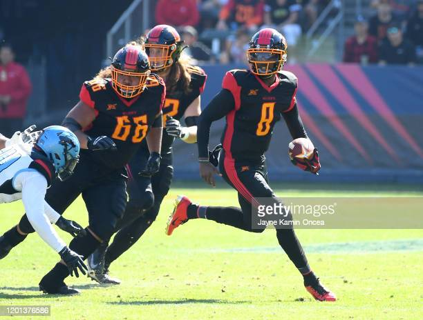 Quarterback Josh Johnson of the Los Angeles Wildcats sets to pass in the first half of the XFL game against the Dallas Renegades at Dignity Health...