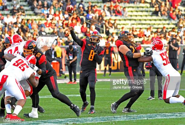 Quarterback Josh Johnson of the LA Wildcats sets to pass during the XFL game against the DC Defenders at Dignity Health Sports Park on February 23,...