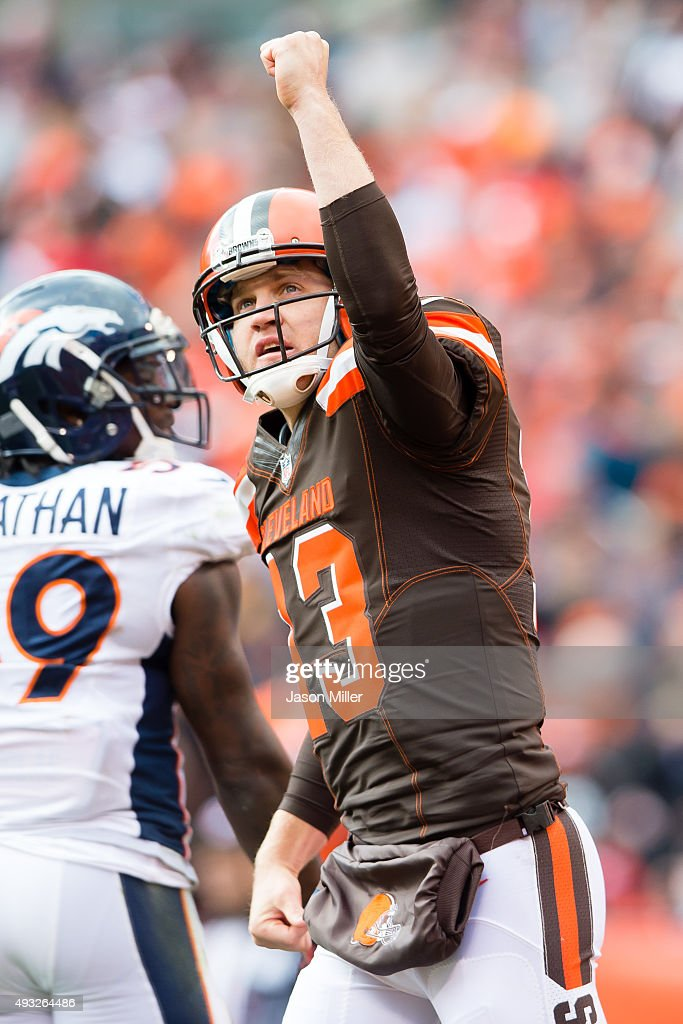 Quarterback Josh McCown #13 of the Cleveland Browns celebrates after throwing a touchdown pass during the second half against the Denver Broncos at FirstEnergy Stadium on October 18, 2015 in Cleveland, Ohio. The Broncos defeated the Browns 26-23 in overtime.