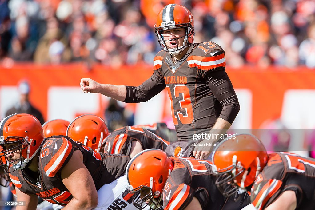 Quarterback Josh McCown #13 of the Cleveland Browns yells to his teammates during the second half against the Denver Broncos at FirstEnergy Stadium on October 18, 2015 in Cleveland, Ohio. The Broncos defeated the Browns 26-23 in overtime.