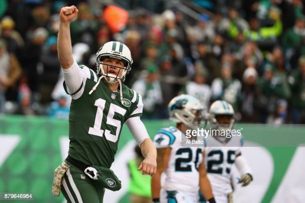 Quarterback Josh McCown of the New York Jets celebrates a touchdown against the Carolina Panthers during the second quarter of the game at MetLife...