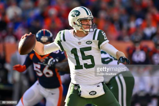 Quarterback Josh McCown of the New York Jets passes against the Denver Broncos in the second quarter at Sports Authority Field at Mile High on...