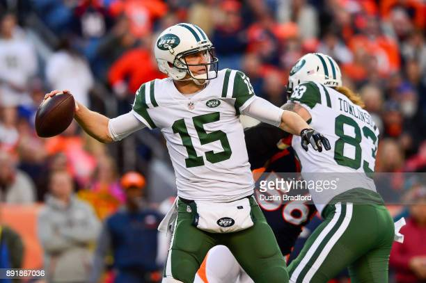 Quarterback Josh McCown of the New York Jets throws against the Denver Broncos at Sports Authority Field at Mile High on December 10 2017 in Denver...