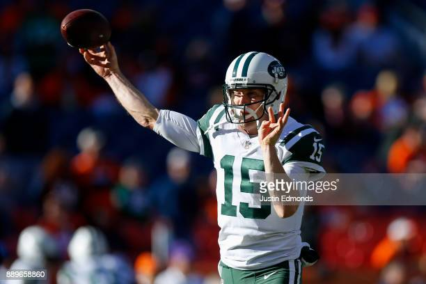 Quarterback Josh McCown of the New York Jets warms up before a game against the Denver Broncos at Sports Authority Field at Mile High on December 10...