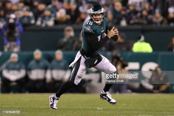 Quarterback Josh McCown of the Philadelphia Eagles looks to pass against the Seattle Seahawks during their NFC Wild Card Playoff game at Lincoln...