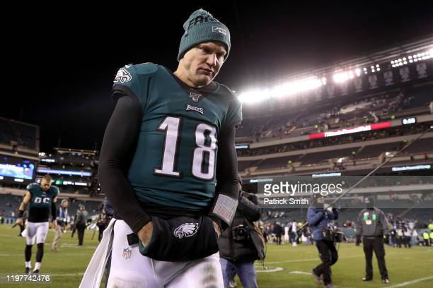 Quarterback Josh McCown the Philadelphia Eagles leaves the field after their loss to the Seattle Seahawks during their NFC Wild Card Playoff game at...