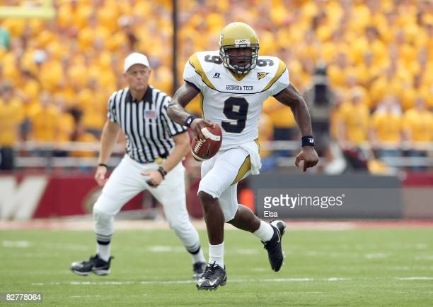Quarterback Josh Nesbitt of the Georgia Tech Yellow Jackets runs with the ball during their game against the Boston College Eagles on September 6,...