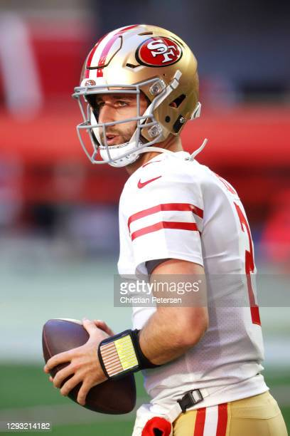 Quarterback Josh Rosen of the San Francisco 49ers looks on during warmups before the game against the Arizona Cardinals at State Farm Stadium on...