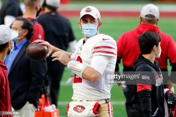 Quarterback Josh Rosen of the San Francisco 49ers throws a ball on the sidelines during the second half against the Seattle Seahawks at State Farm...