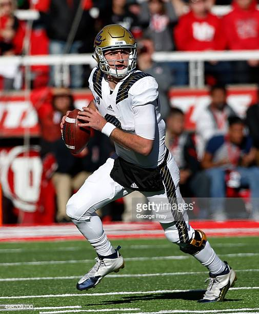 Quarterback Josh Rosen of the UCLA Bruins looks to pass the ball against the Utah Utes during the first half of a college football game at Rice...