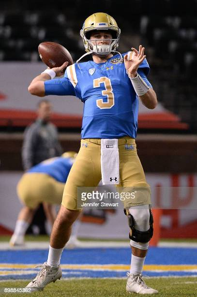 Quarterback Josh Rosen of the UCLA Bruins warms up for the the Cactus Bowl against the Kansas State Wildcats at Chase Field on December 26 2017 in...
