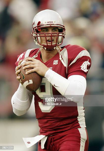 Quarterback Josh Swogger of the Washington State Cougars warms up during the game against the Arizona State Sun Devils on November 15 2003 at Martin...